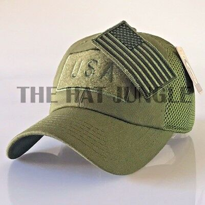 USA American Flag Patch Hat US Military Tactical Detachable Baseball Cap   Olive  0d9ce5ef45b