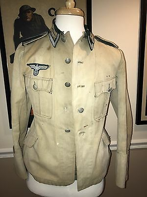 Ww2 Original Heer Untteroffizier Tunic German Jacket Collar Tab Afrikacorp