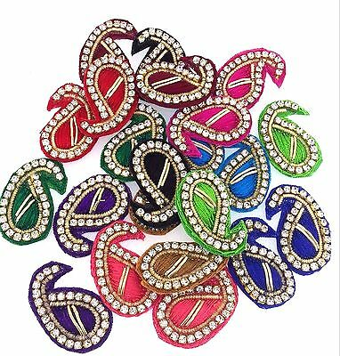 Indian Paisley Appliques Sewing Craft Fashion Accessories Beaded Motifs DIY 4pc
