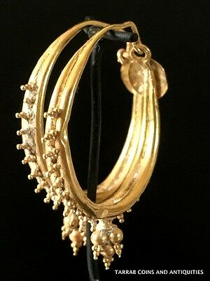 Ancient Roman Gold Decorated Hoop Earrings; 100 Bc - 200 Ad! Choice Condition!