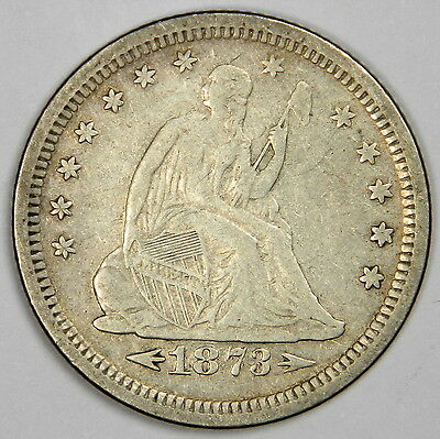 1873-S Seated Quarter - Nice Vf With Nice And Original Color - Priced Right!
