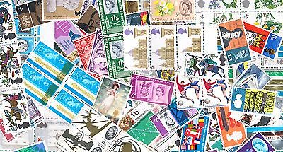 QE2 100 Pre Decimal Mint Stamps in singles, pairs and blocks     MNH