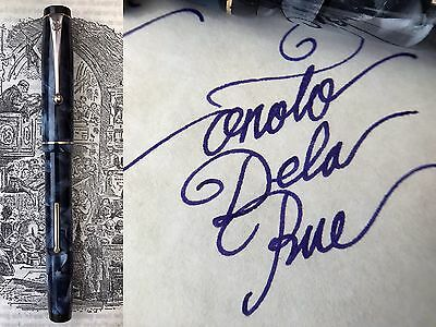 Vintage ONOTO De La Rue 1220 A.6 Blue Fountain Pen 14k Gold Nib