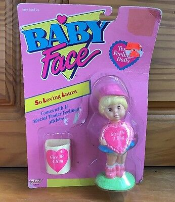 """1991 Galoob Baby Face Doll So Loving Laura """"Give Me A Hug"""" Stickers Doll Statue"""