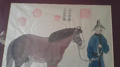 vintage Chinese or Japanese painting on silk signed with seals