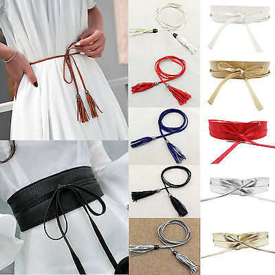 Fashion Womens Belt Soft Wide Self Tie Wrap Around Waist Band Strap Tassel Belt