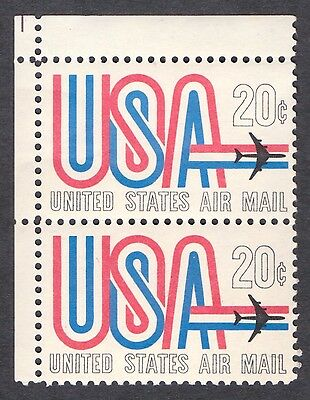 USA 1968  Top Corner Pair of  20 Cents Airmail   SG A1350   MNH