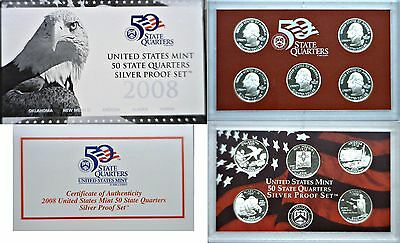 2008-S 5 Coin Silver Proof Quarter Set OGP W/COA