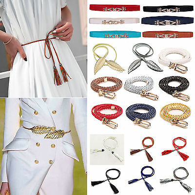 Women Ladies Elastic Waist Dress Belt Stretch Narrow Thin Skinny Strap Waistband