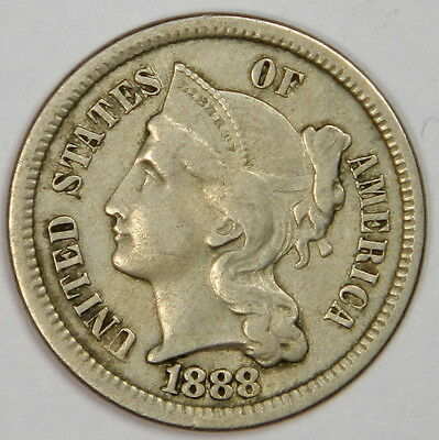 1888 Three Cent Nickel 3Cn - Nice And Bold Vf - Problem Free & Priced Right!