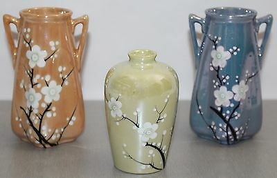 Lot of 3 Vintage ca. 1930s Japanese Lusterware Floral Blossom Vases