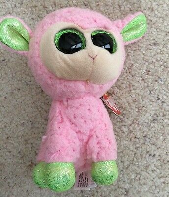 "NWT Ty Beanie Boos 6"" BABS the Pink Lamb w/Heart Tag EASTER  RETIRED RARE"