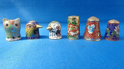 Six collectable Brass Sewing Thimbles Cat - Birds - Flowers - Cloisonné / Enamel
