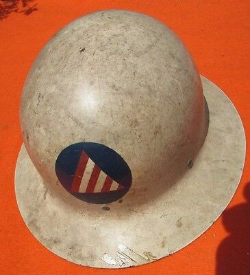 Original Wwii U.s. Army Civil Defense Military Helmet White Air Raid With Liner