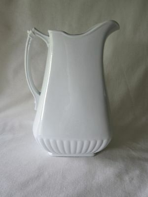 Antique Large White Ironstone China Powell & Bishop England Pitcher 1867-1878