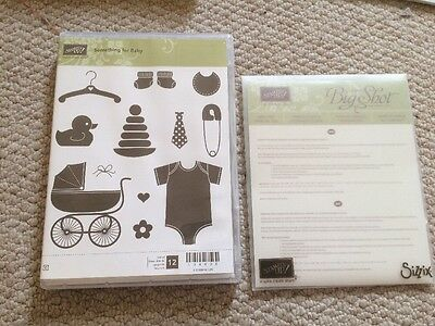 Retired Stampin Up Red Cling Stamp Set And Matching Dies - Something For Baby
