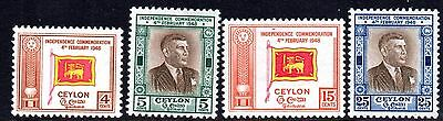 Ceylon 1949 First Anniversary of Independence. SG 406-9 Mounted Mint