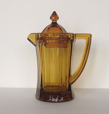 Antique Amber Glass Syrup Pitcher with Lid