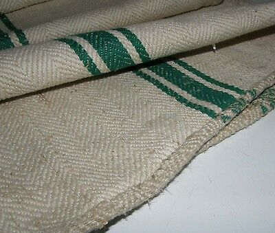 Grain sack grainsack 45 x 18 fabric Green Stripe with Drawstring European GS05