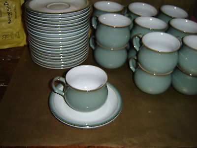 set of 6x denby regency green cups and saucers