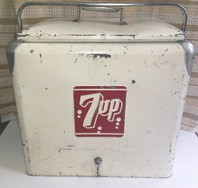 vintage 7up cooler 1950's Ice Box Chest Metal NICE BBQ Picnic Decor