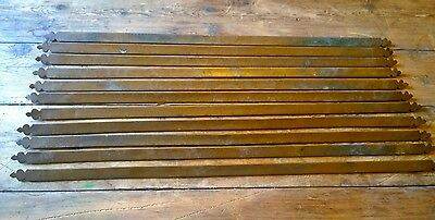 Reclaimed Set Of 11 Brass Stair Rods Fleur De Lis Ends Edwardian Trefoil Antique