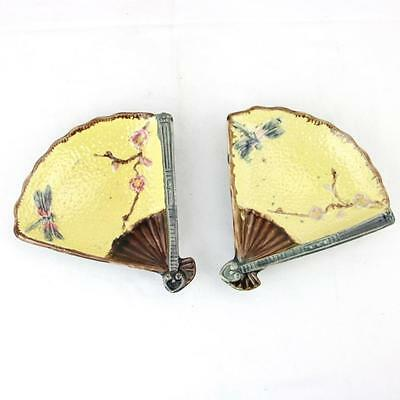 Pair Majolica Fan Dishes w/ Dragonfly Antique Victorian 19th Century Coasters
