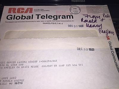 Two telegrams from Ronald Reagan to Jack Lord (Hawaii Five -0) w/COA