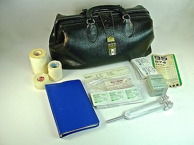 Vintage Black Textured Leather Schell Doctors Bag 71424 & Lilly Tuning Fork 128C
