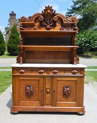 Outstanding Walnut Victorian Marble Top Buffet Sideboard circa 1865
