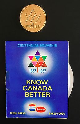 1967 - TWO Canadian Centennial Souvenirs:  Wooden Dollar & Canadian Fact Booklet