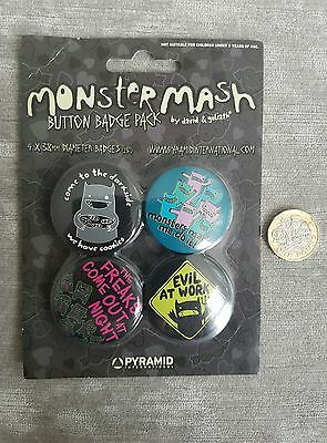 New/sealed Monster Mash By David & Goldiath Dark Side Button Badge Pin Set Of 4