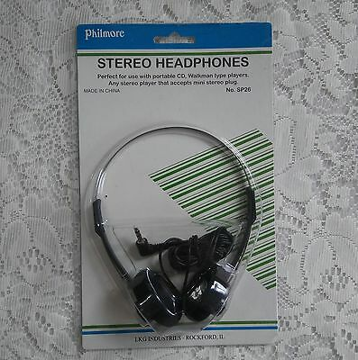 Philmore Dynamic Headset Headphones No. SP26 mini stereo plug Black over head