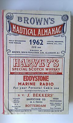 BROWN'S NAUTICAL ALMANAC 1962, Glasgow, ca. 1050 pages incl. fulll page adverts