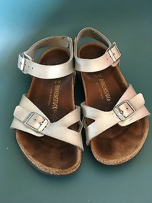 Girls Sandals Size 1 Eur 31 Birkenstock Silver Shoe