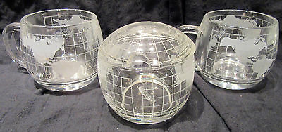 Nescafe Nestle Glass Etched Globe World Covered Sugar Bowl & LId & 2 MUGS/CUPS