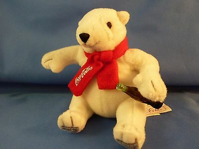 Small Polar Bear Plush Animal Holding A Coke With Coca-Cola Scarf