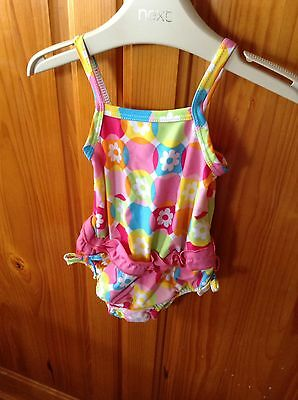 Mothercare Baby Girls Colourful Swimming Costume With Nappy. 0-6 Months