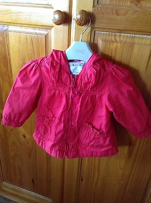 Next Baby Girls Red Lightweight Hooded Coat. 6-9 Months