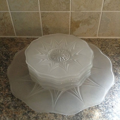 FROSTED GLASS PLATE SET ART DECO 1930s