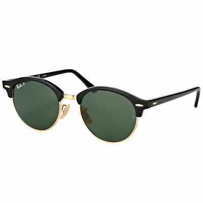 5ce078a5b57 Ray-Ban Clubround RB 4246 901 58 Black Plastic Sunglasses Green Polarized  Lens