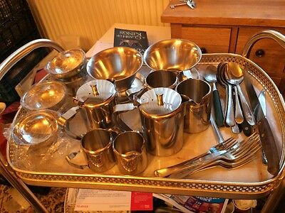 Job Lot Of Stainless Steel Cafe Items Pots Jugs Dishes Cutlery 30+ Items.