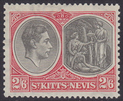 ST. KITTS-NEVIS - 1938 2s6d Black and scarlet Perf 13x12 - MM / MH