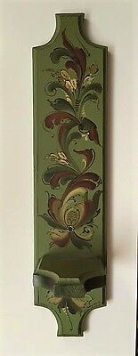 Antique Norwegian Rosemaling Candle Holder 1980 by Sally Thompson