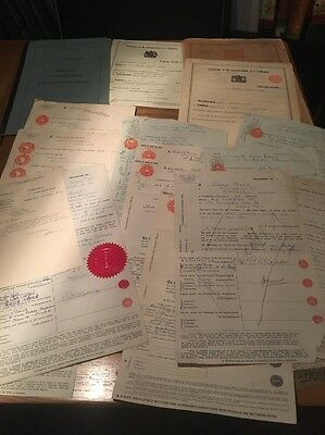 A Number Of Old Stocks And Shares Paperwork Dating From 1940's
