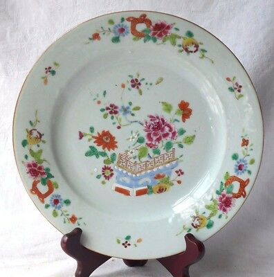 C18Th Chinese Famille Rose Plate With Flowers, Fence And Border