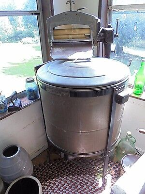 Vtg Antique Easy Vacuum Copper Chrome Brass Electric Washing Machine Works