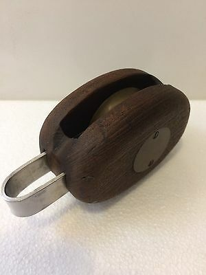 Antique Vintage Wood & Bronze Brass Sailing Yacht Pulley Block