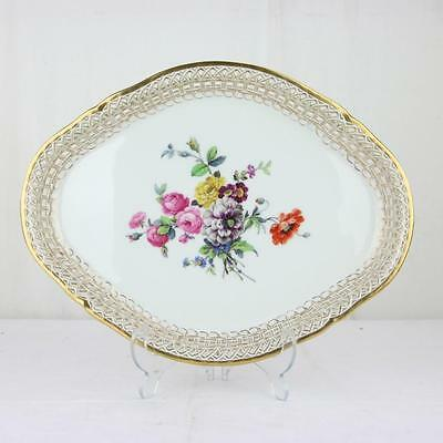 Floral Hand Painted Reticulated Porcelain Perfume Tray Platter