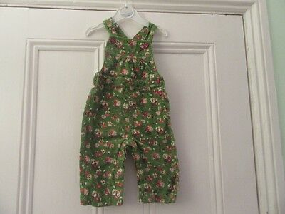 6-9m: Pretty floral dungarees: Green cord: Next